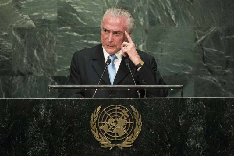 Brazilian President Michel Temer delivers his speech at the UN General Assembly.