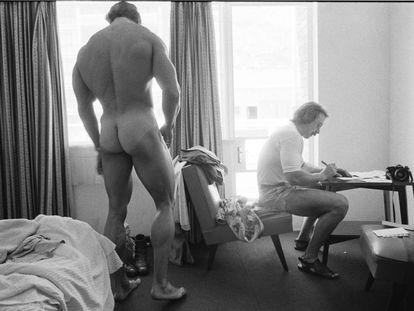 Arnold Schwarzenegger readies for Mr. Olympia in Pretoria, South Africa, 1975.