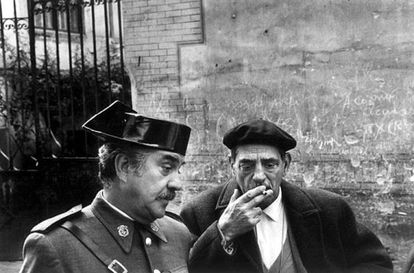 Luis Buñuel (r) on the set of Tristana, photographed by Mark.