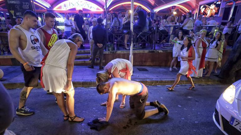 A drunken tourist in the popular party destination Magaluf.