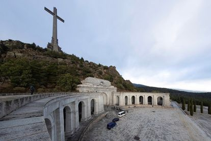 Members of the Franco family enter the Valley of the Fallen to attend the exhumation.