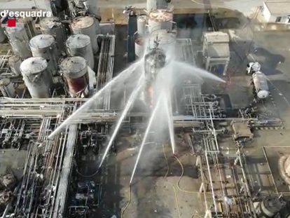 Firefighters work to put out the blaze at the chemical plant.