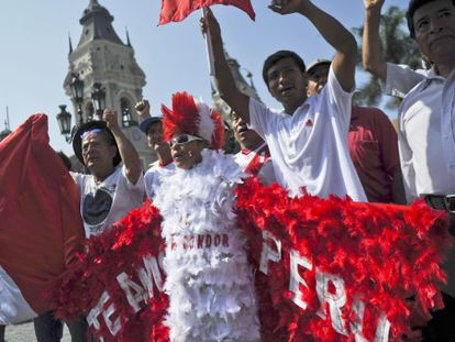 Demonstrators in Peru outside the government palace in Lima.