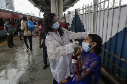 A coronavirus test is carried out in India earlier this month.
