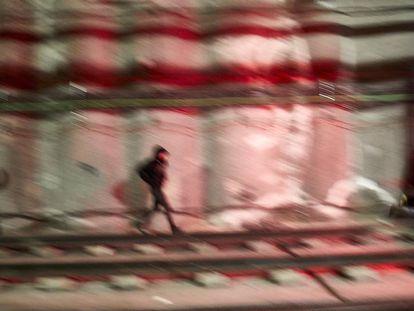 Graffiti artists in Barcelona.