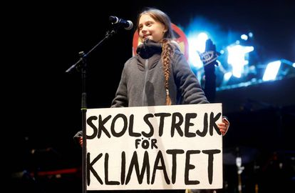 Climate change activist Greta Thunberg delivers a speech at a climate change protest march, as COP25 climate summit is held in Madrid.