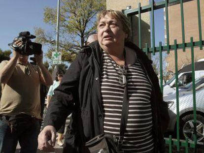 Teresa Mesa, friend of and spokesman for Romero and Limón, outside Carlos III Hospital.
