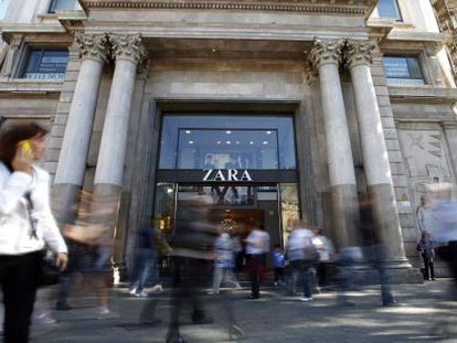 The exterior of a Zara store in Barcelona.