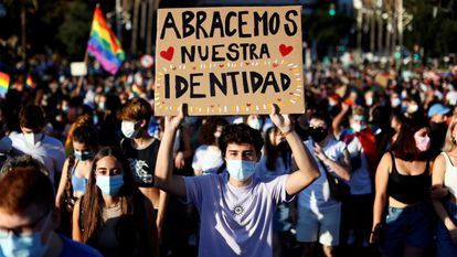 Youths at a LGBTI Pride march in Valencia.