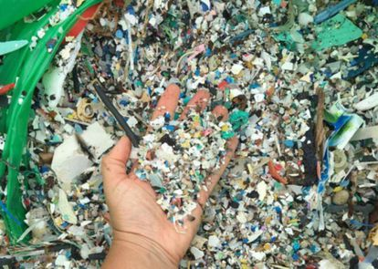 Plastic collected from a beach in Tenerife.