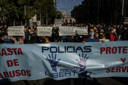 The protest called by a small group of coronavirus skeptics last Saturday in Madrid.