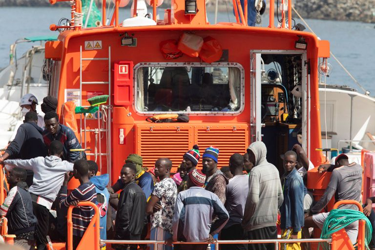 A group of 54 migrants rescued on Tuesday near Gran Canaria.
