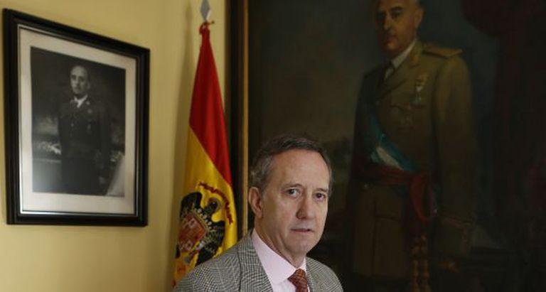 Francisco Franco National Foundation vice president Jaime Alonso in the organization's Madrid headquarters.