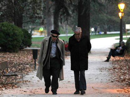 Two pensioners out for a walk in Madrid's Retiro park.