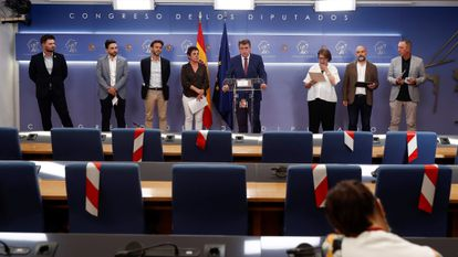 Congressional party speakers in Spain's Congress of Deputies read a statement in connection with the cellphone espionage claims on Tuesday.