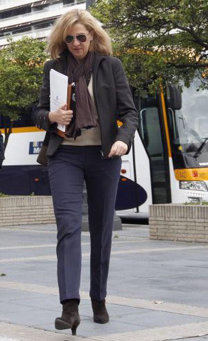 Princess Cristina arrives at La Caixa headquarters in Barcelona, April 2013.