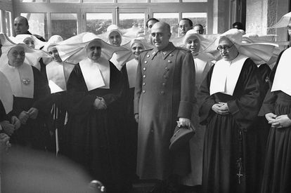 Francisco Franco opens a military health clinic in Madrid in 1949.