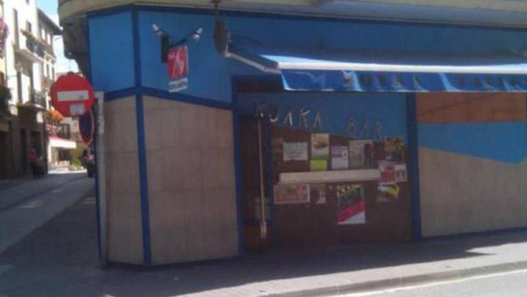 Around 50 people attacked the off-duty officers outside this bar in Alsasua, Navarre.