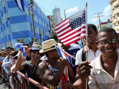 Cubans gather outside the US Embassy in Havana on Friday.