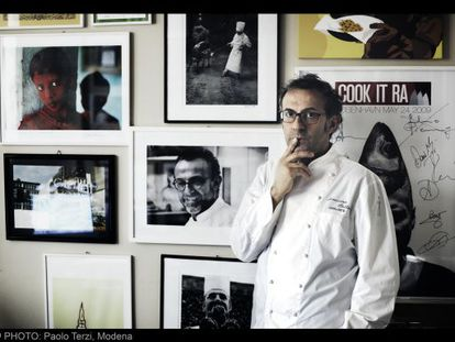 Massimo Bottura, pictured here in his restaurant in Modena, has been the victim of what he says are inaccurate reviews on TripAdvisor.