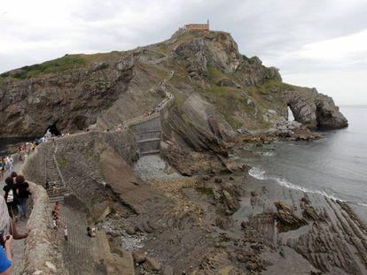 Visitors to San Juan de Gaztelugatxe on the last Sunday in August.