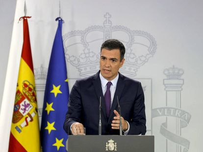 Acting Prime Minister Pedro Sánchez at a press conference on Thursday.