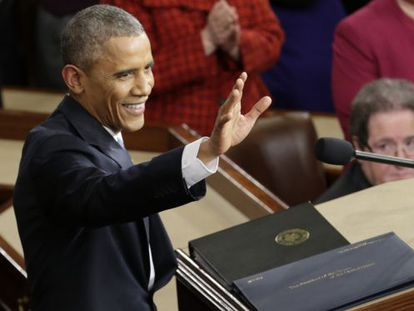 President Obama before beginning his 2015 State of the Union address.