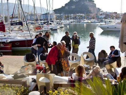 Spanish tourists at a bar in Denia.