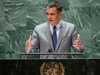Pedro Sánchez during his address at the UN in New York on Wednesday.