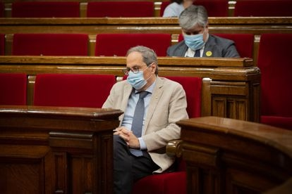 Catalan premier Quim Torra inside the regional parliament on July 8.