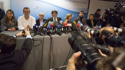Former Catalan premier Carles Puigdemont and ex-members of the Catalan cabinet in Brussels on Tuesday.