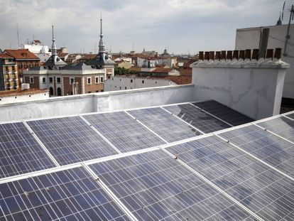 Solar panels on top of a Madrid building.