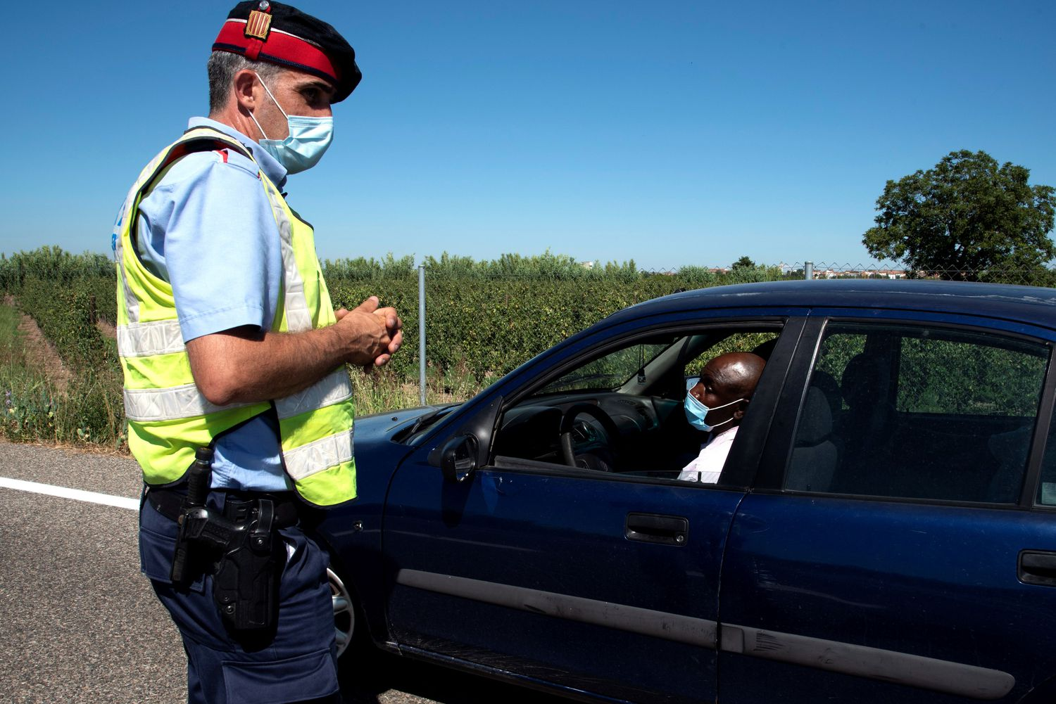 A police checkpoint at Segrià today.