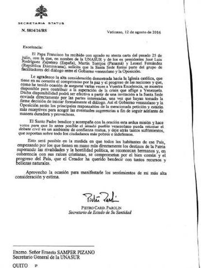 Carta enviada desde el Vaticano a Unasur.