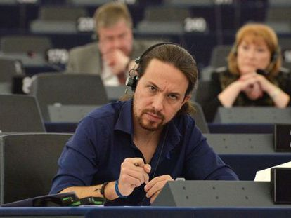 Pablo Iglesias in the European Parliament in Strasbourg on Tuesday.