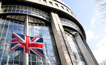 A Union Flag flutters outside of the EU Parliament in Brussels.