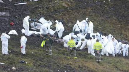 Rescue teams at the site of the crash.