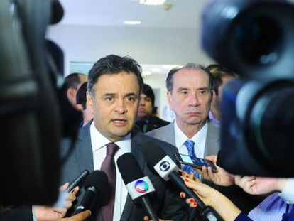 Brazilian senators Aécio Neves and Aloysio Nunes speak to reporters on Tuesday.
