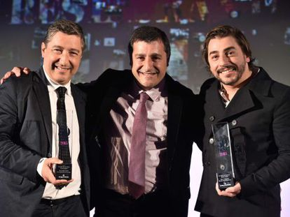 Joan, Josep and Jordi Roca after picking up their prize on Monday night.