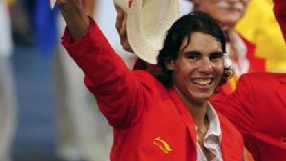 Spanish tennis player Rafael Nadal waves during the opening ceremony of the Beijing 2008 Olympic Games.