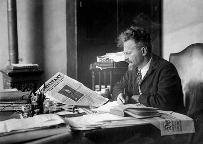 Leon Trotsky at his desk inside his house in Mexico.