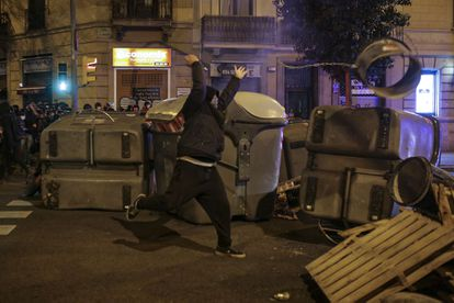 Street protests in Barcelona over the jailing of rapper Pablo Hasél.