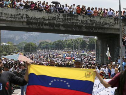 Protesters in Caracas on Monday.