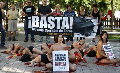 An anti-bullfighting protest in Algemesí, Valencia, in 2009.
