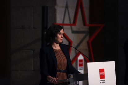 Madrid premier Isabel Díaz Ayuso at a press conference on Tuesday.