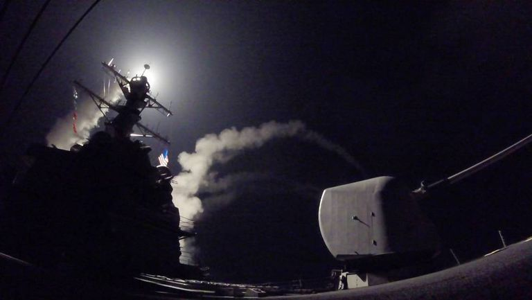 Tomahawk missiles are launched into Syria by the 'USS Porter' destroyer.