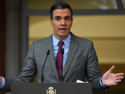 Spain's Prime Minister Pedro Sánchez after the Cabinet meeting on Tuesday.