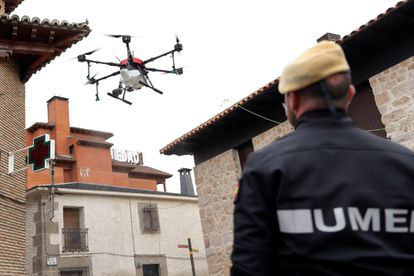 Military personnel using drones to disinfect a senior home in Manzanares el Real (Madrid).