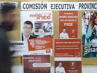 Posters supporting all three candidates to head the PSOE.