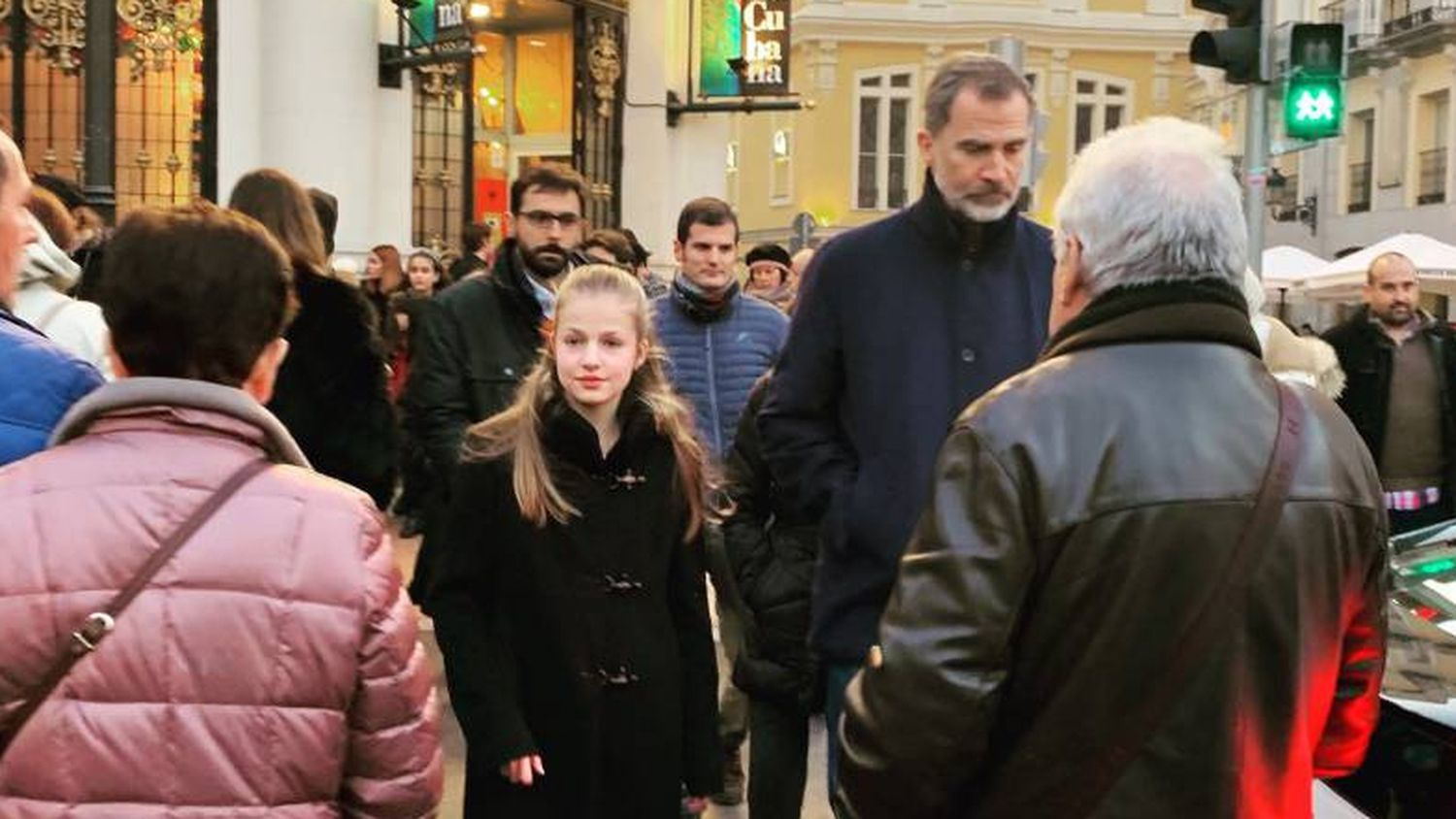 King Felipe and Princess Leonor in Benavente square in Madrid.